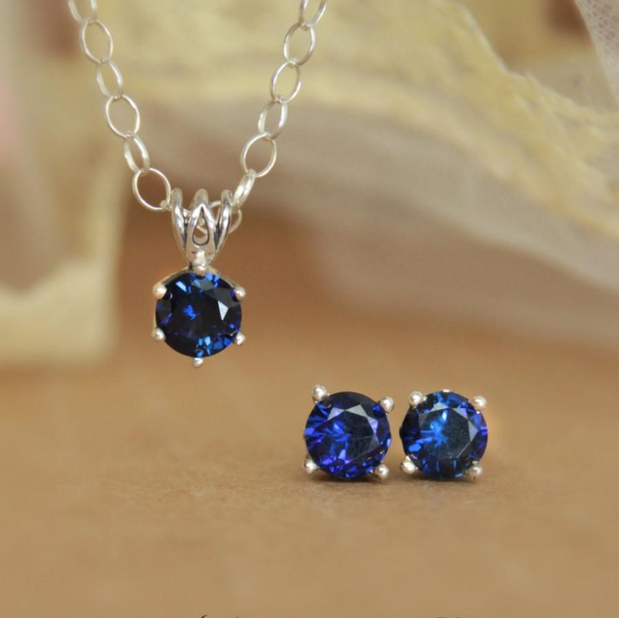 Hochzeit - Blue Sapphire Filigree Earring and Necklace Set in Sterling Silver - Stud Earrings and Solitaire Pendant with Chain - Faceted Gemstone Set
