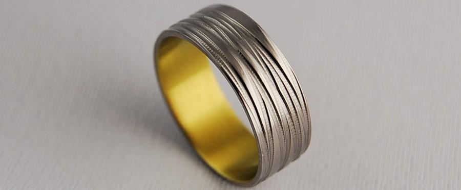 Mariage - Titanium Ring , Wedding Band , Promise Ring , Titanium Wedding Ring , Titanium Wedding Band ,  The Sphinx Band in Golden Fleece