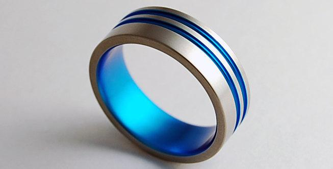 Свадьба - Mens Wedding Band , Titanium Ring , Promise Ring , Andromeda Band