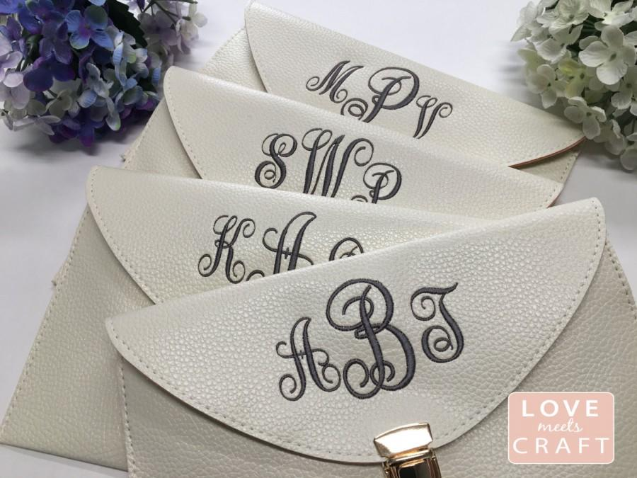 Mariage - Set of 6 - Bridesmaid Monogram Clutches Gifts, Bridal Shower Parties, Wedding Purse, Sorority Gifts