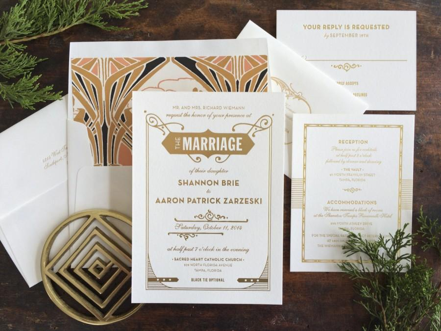 Gatsby Wedding Invitation Letterpress Art Deco Nouveau Gold