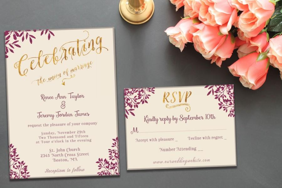 Printable Wedding Invitation Suite Template Classy Elegant – Gold and Purple Wedding Invitations
