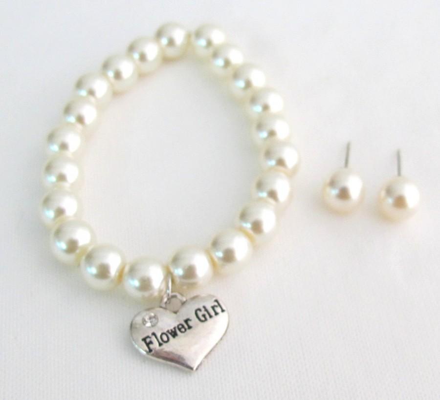 Mariage - Flower Girl Bracelet, Flower girl Jewelry,Personalized Children Jewelry Child Bracelet,Flower Girl Gift ,Ivory Bracelet Free Shipping In USA