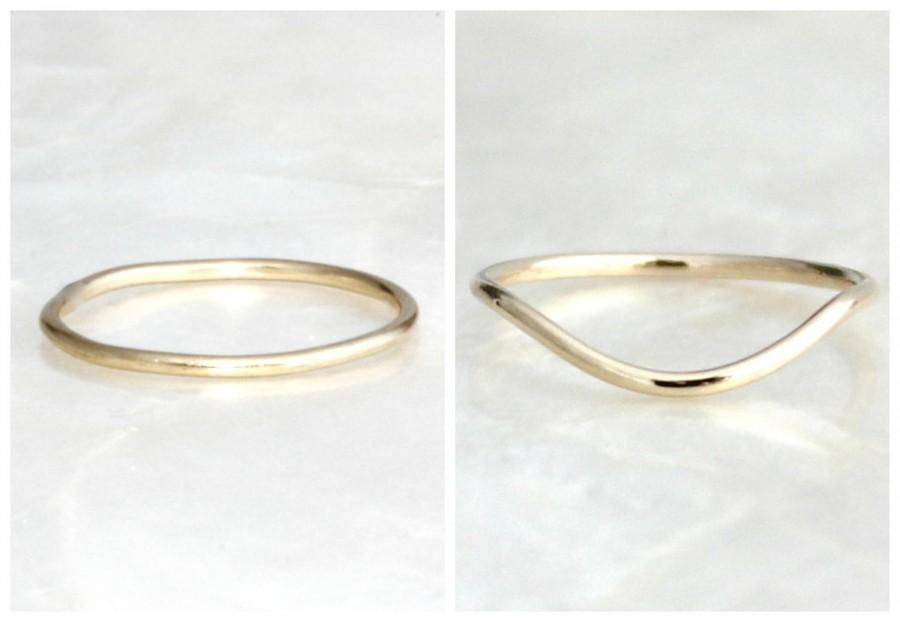 1mm Sterling Silver Or Solid 14kt Gold Straight Or Curved Band