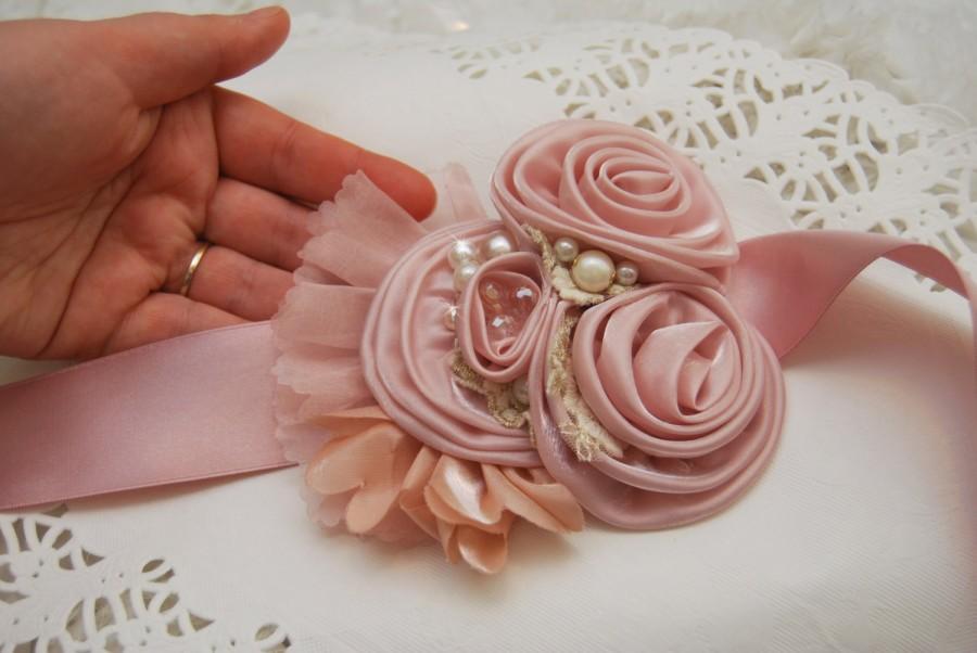 Wedding - Bridal Belt; Wedding Sash; Bridal Sash; Blush Dusty Pink; Flower Sash; Satin Belt; Handmade SF003