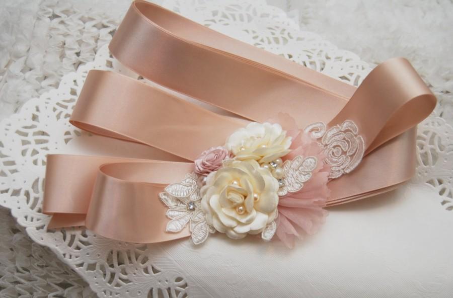 0f36f222c81ff Wedding Sash; OOAK Bridal Sash; Flower Sash; Blush Champagne Satin; Lace;  Pearls; Bridal Belt; Wedding Belt; Handmade; Maternity Sash; SF001