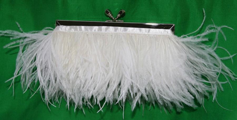 Свадьба - Feather Bridal Purse Silver with Jeweled Swarovski Crystal Clasp and Ivory Ostrich Feathers Prom Evening