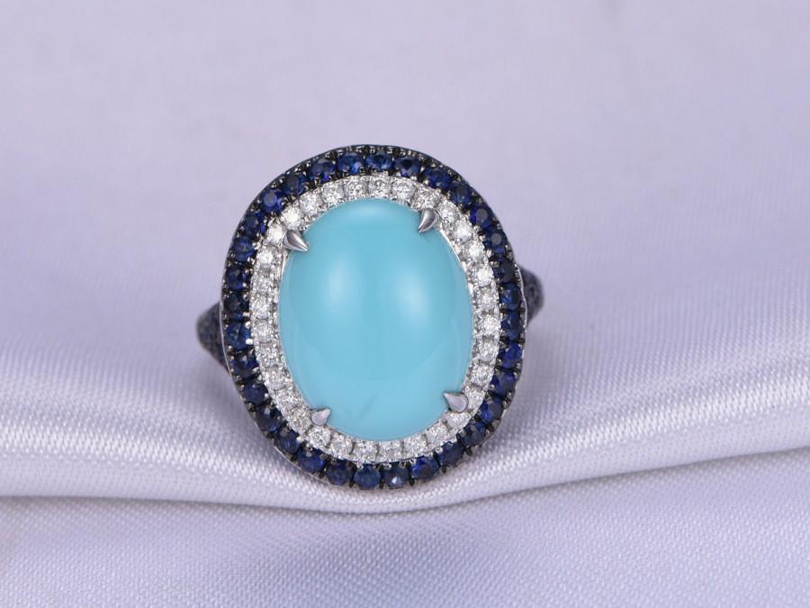 Turquoise Engagement Ring 14k White Gold Big Blue Stone Two Tone