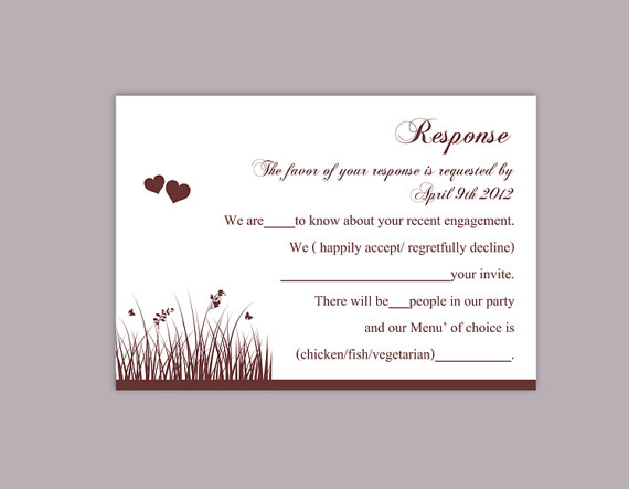 DIY Wedding RSVP Template Editable Word File Download Rsvp Template  Printable RSVP Cards Wine Red Rsvp Card Template Elegant Rsvp Card