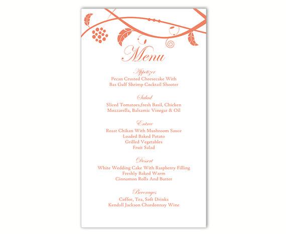 Свадьба - Wedding Menu Template DIY Menu Card Template Editable Text Word File Instant Download Orange Menu Floral Menu Printable Menu 4x7inch