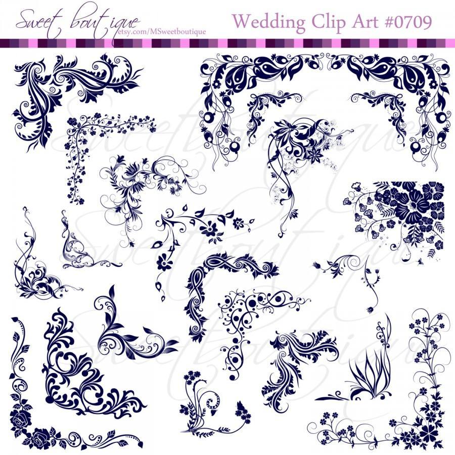 Navy Blue Digital Frames Clip Art Elegant Corners Scroll Clip Art ...