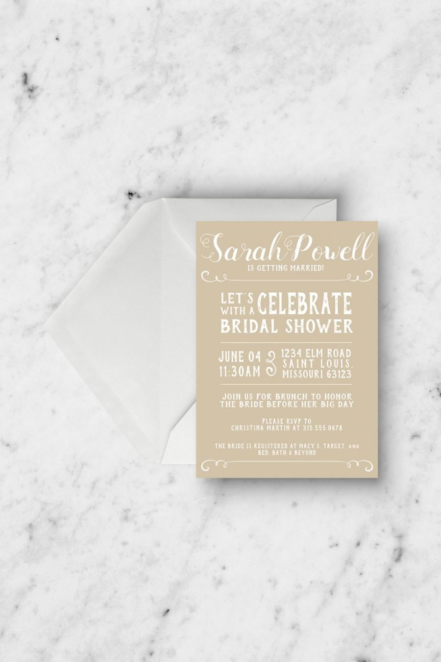 Bridal Shower Invitation - Rustic Bridal Shower - Customizable ...