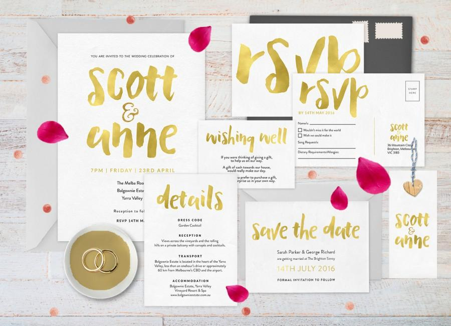 gold wedding invitation set wedding invitation gold wedding stationery set wedding set wedding rsvp postcard gold save the date