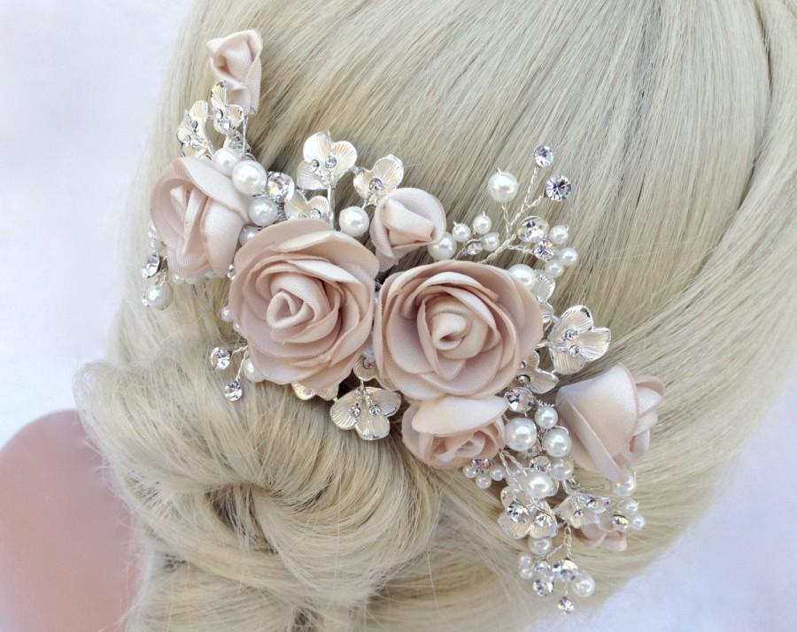 زفاف - Pearl And Crystal Bridal Hair Comb, Wedding Hair Comb, Blush Champagne Flower Hair Comb, Bridal Headpiece, Bridal Hairpiece, COLOR CHOICES