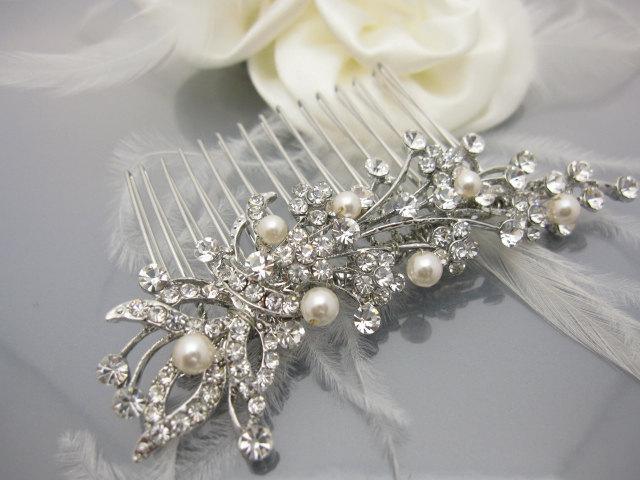 Mariage - Wedding hair comb pearl Bridal hair comb vintage Wedding hair accessory pearl Bridal hair jewelry Wedding hair piece Wedding headpiece pearl