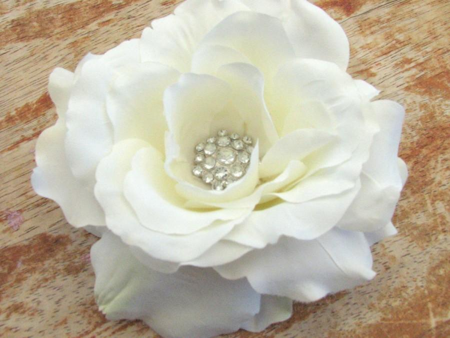 Bridal white flower hair clip fascinator spring rose with a large bridal white flower hair clip fascinator spring rose with a large cluster rhinestones wedding accessories head piece brooch pin cake topper mightylinksfo