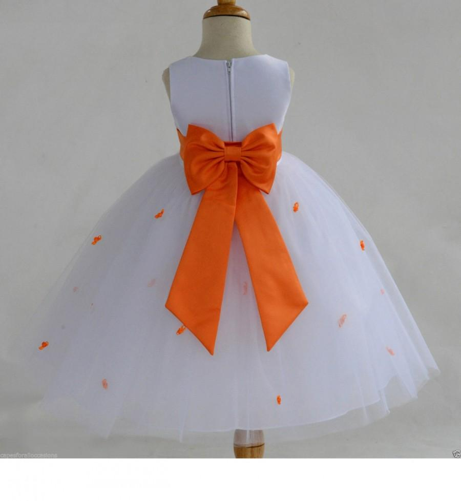 Wedding - White Orange Rosebud Flower girl dress tiebow sash pageant wedding bridal recital tulle bridesmaid toddler sizes 12-18m 2 4 6 8 10