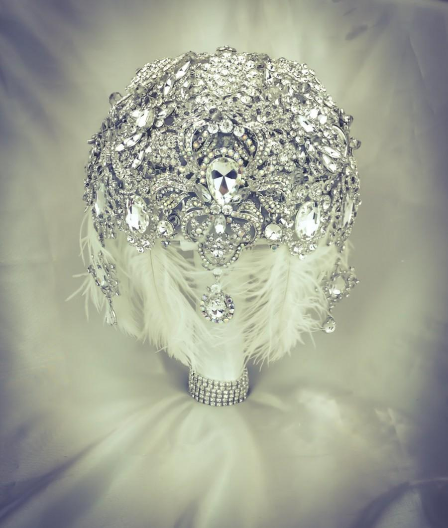 Wedding - Very Vintage Wedding Gatsby Brooch Bouquet. Deposit on Feather Diamond  Draping Jeweled Crystal Broach Bouquet