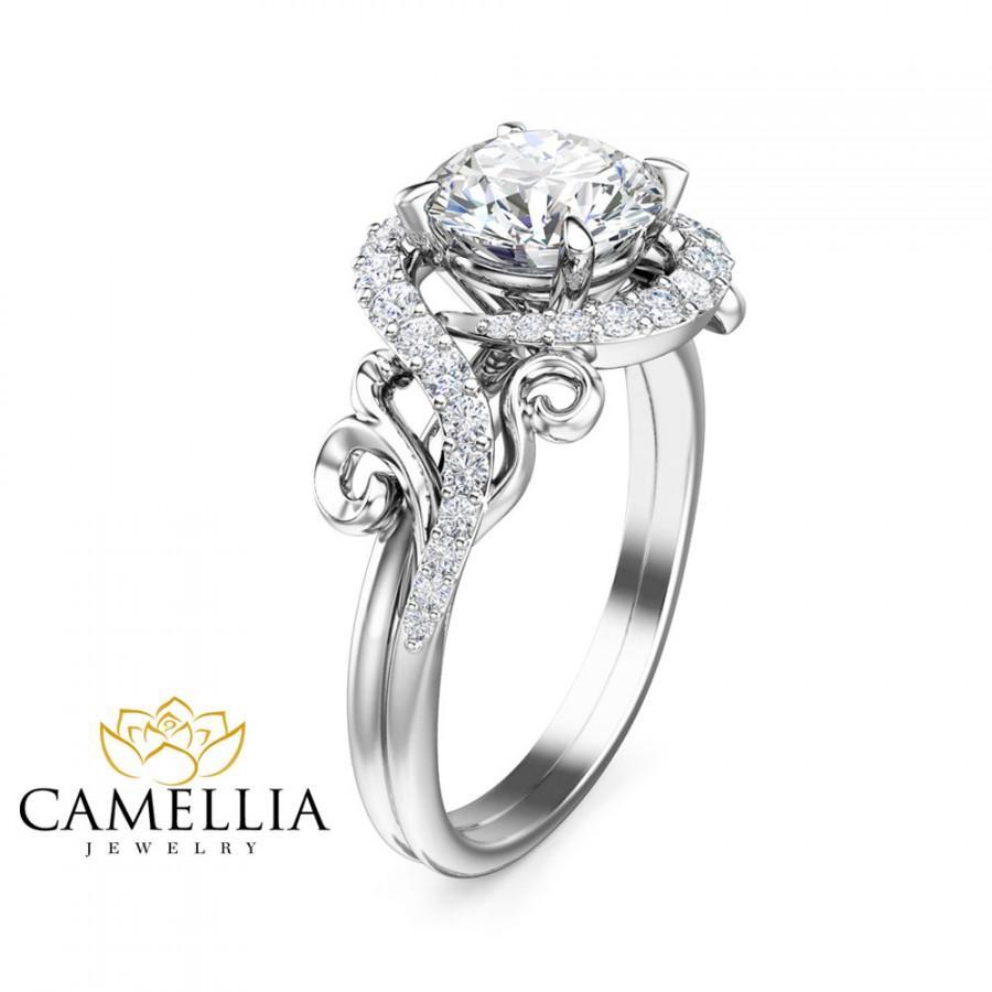 Mariage - Unique Engagement Moissanite Ring 14K White Gold Moissanite Ring Unique Design Engagement Ring
