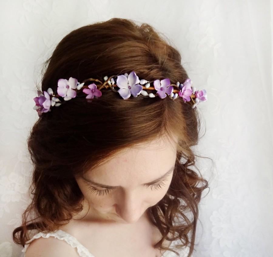 Mariage - purple floral crown, bridal circlet, floral circlet, purple flower crown, flower girl hairpiece, purple wedding, bridal hairpiece, lilac