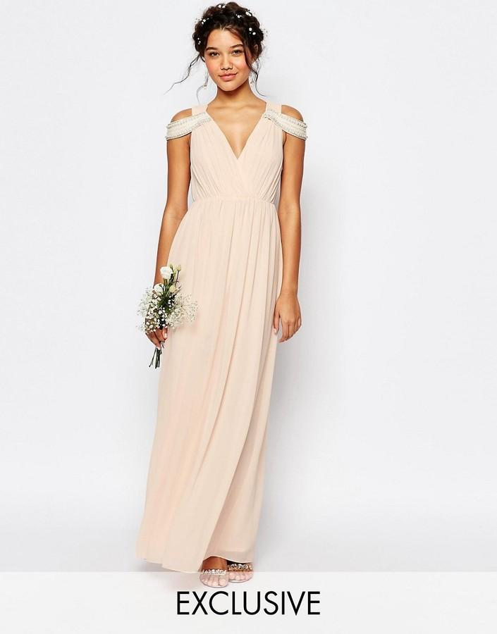 Свадьба - TFNC WEDDING Cold Shoulder Wrap Front Maxi Dress