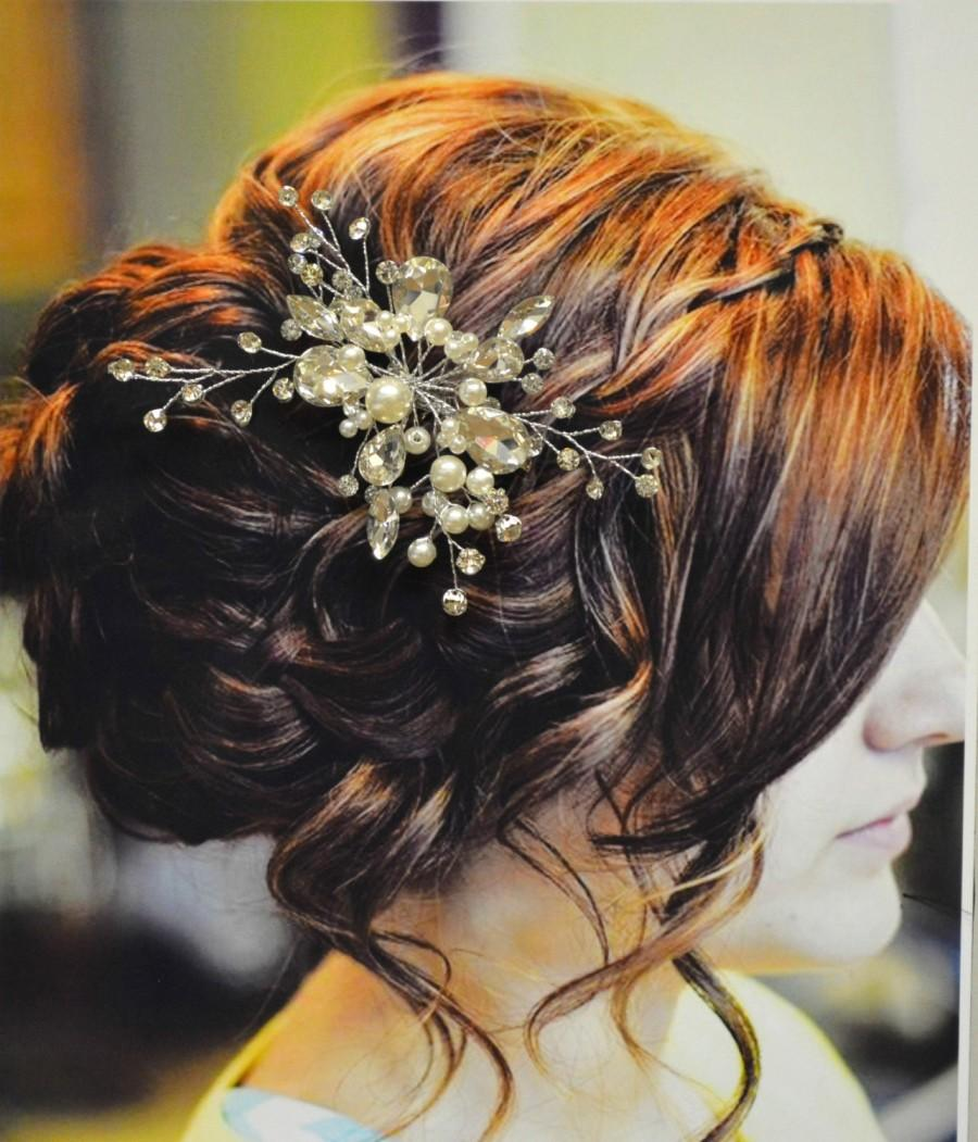 Hochzeit - Venice Bridal Hair Comb, Wedding Hair Comb, Pearl and Crystal Hair Comb, Wedding Hair Accessories, Floral Bridal Headpiece