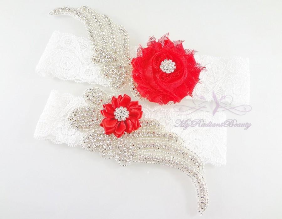 Mariage - Bridal Garter, Wedding Garter, Sexy Garter, Crystal Flower Garter, Bridal Flower Garter, Handmade Custom Garter, Beaded Garter GTF0008R
