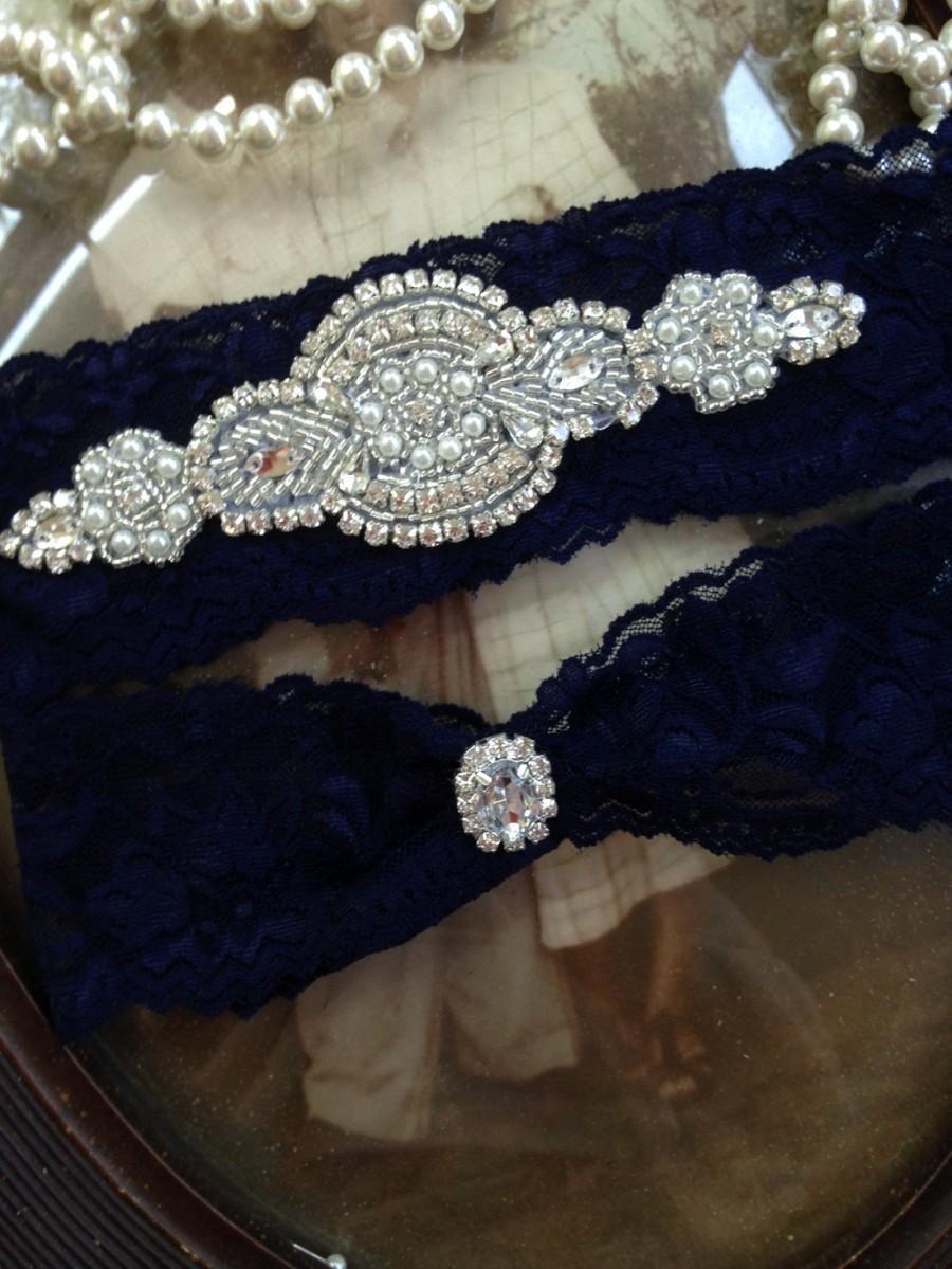 Mariage - SALE-Wedding Garter-Garter Belt-Bridal Garter-Garter-Navy-Blue-Lace Garter-Rhinestone Garter-Something Blue-Vintage Garter-Pearl garter