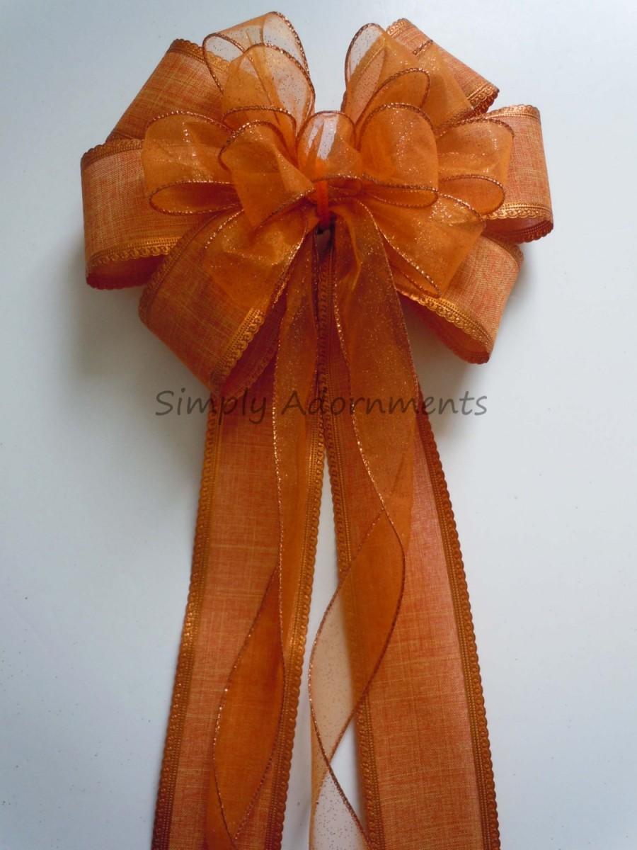 Burnt Orange Pew Bow Fall Orange Wedding Bow Fall Church Aisle Pew ...