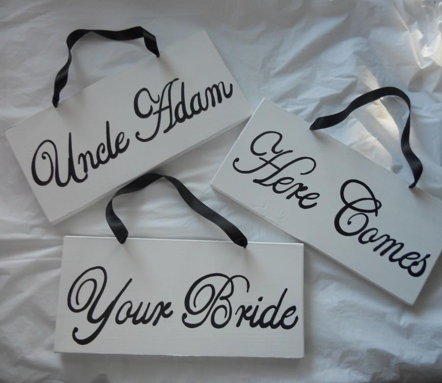 Wedding - Classic Black and White 3 Piece Here Comes The Bride Sign Set