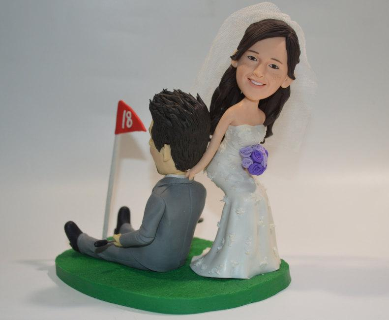 Wedding - Golf wedding cake topper personalized toppers funny cartoon bride & groom figure figurines