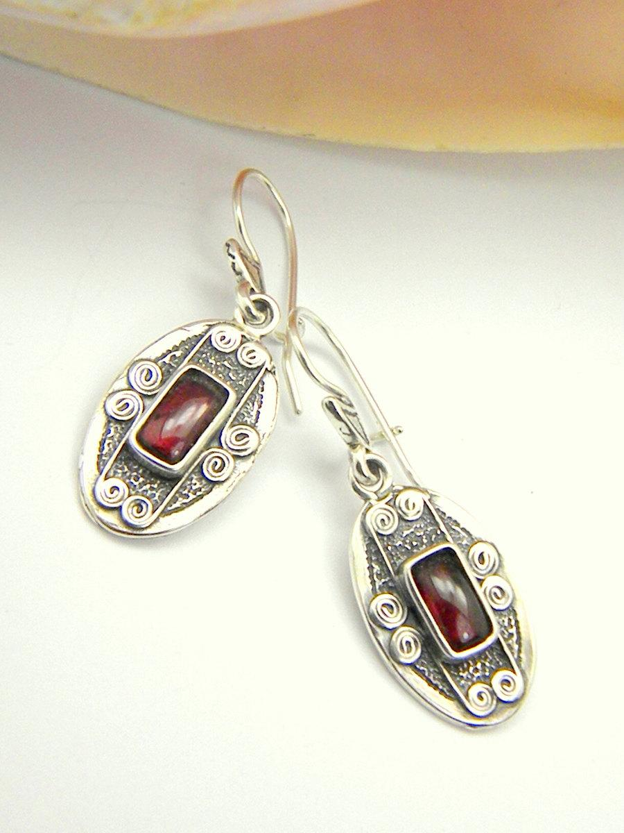 Silver Garnet Earrings Sterling Oval Dangling Rustic Antique Style Gemstone Jewelry January Birthstone