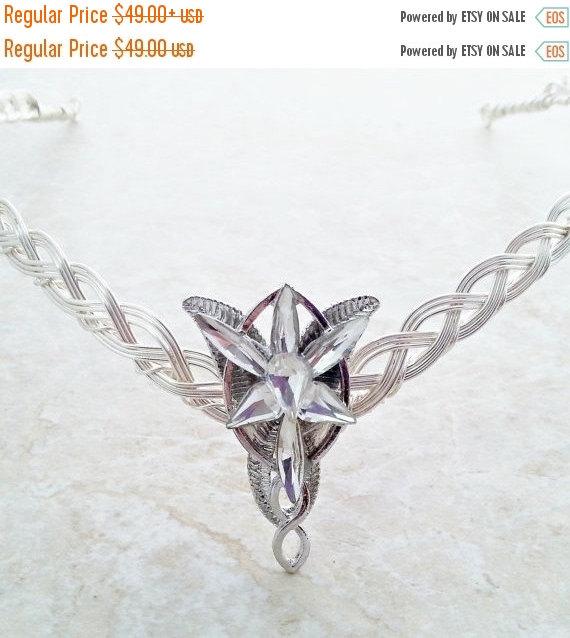 Hochzeit - ON SALE Elven-Star  Celtic Weave Circlet Crown Tiara in silver.