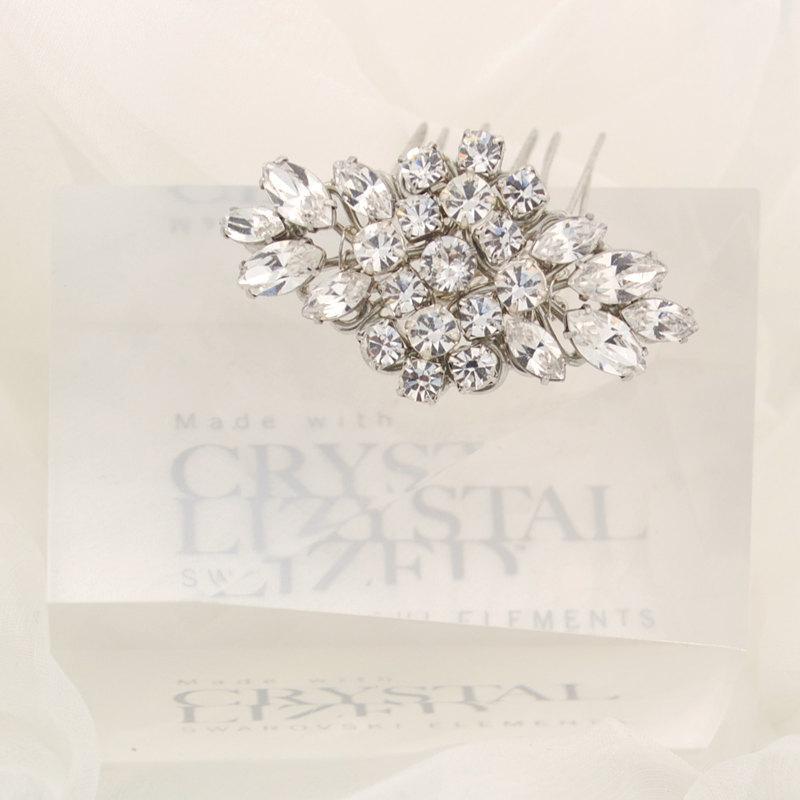 Wedding - Wedding hair comb - bridal hair brooch - Swarovski crystal bridal hair comb - mini bridal comb - petite wedding comb - April comb