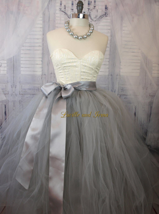 Silver Tulle Skirt In Knee Tea And Full Length Wedding Sewn Tutu Grey Bachelorette Party Engagement Photo Prop Bridesmaids Baby Bump