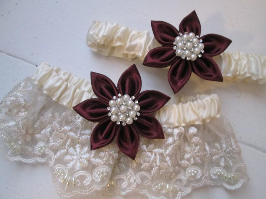 Wedding - Marsala Wedding Garter Set, Wine Red- Cranberry- Maroon- Red Garters, Ivory Bridal Lace, Pearls, Rustic-December-Christmas Bride