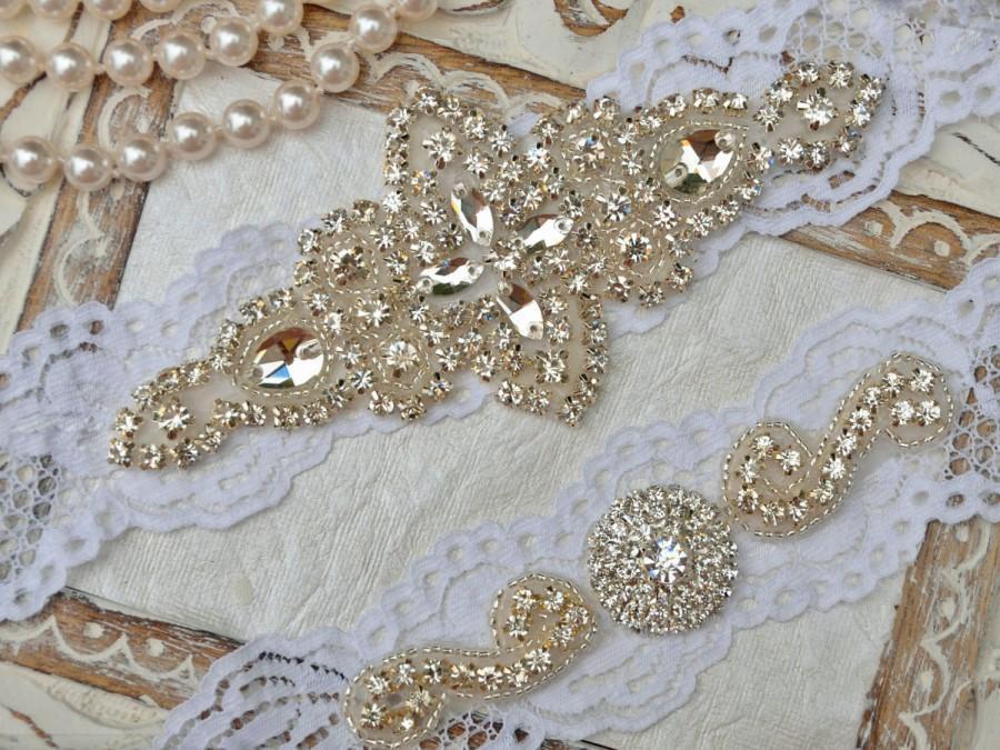 Mariage - Wedding  Garter, Off White  Lace Garter, Crystal Rhinestone Garter, Bridal Garter Belt,  Garter Set, Keepsake Garter, Toss Garter, Style-105