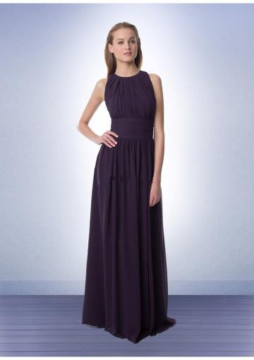 زفاف - Straps Floor Length Chiffon Grape Ruched Sleeveless