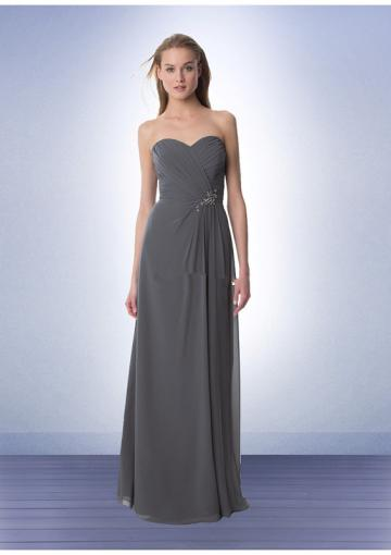 Mariage - Floor Length Grey Chiffon Sweetheart Ruched Sleeveless