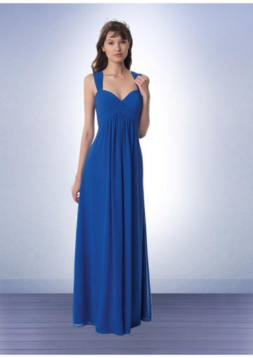 Hochzeit - Floor Length Chiffon Blue Sweetheart Cap Sleeves Ruched
