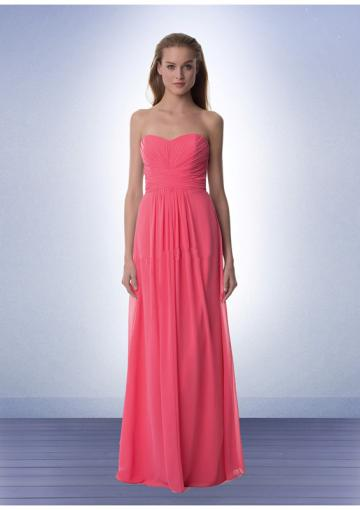 Hochzeit - Floor Length Pink Sweetheart Chiffon Ruched Sleeveless