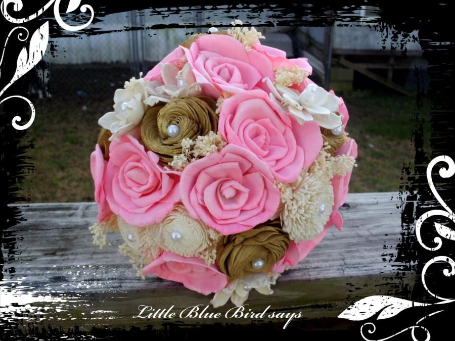 Mariage - Pink and gold sola bridal bouquet, wedding bouquet, rustic bouquet, sola flower bouquet, keepsake bouquet, rustic wedding bouquet