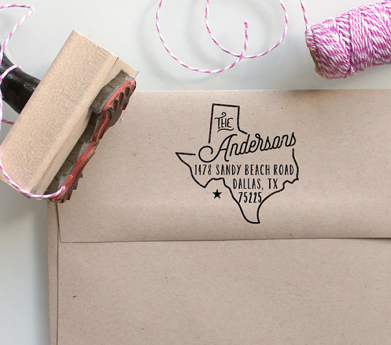 Custom texas state return address stamp perfect gift for holidays housewarming parties and - Return gifts for housewarming ceremony ...