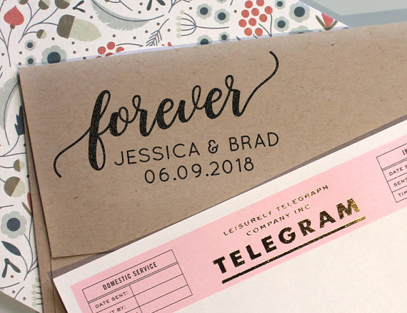 Wedding - Custom Save the Date Rubber Stamp with wedding Date and the word forever, rubber stamp, self inking stamp