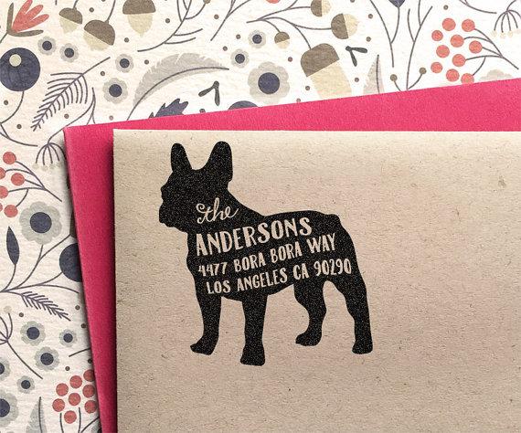 Custom address stamp french bulldog frenchie return address stamp customized gift for - Return gift for housewarming ceremony ...