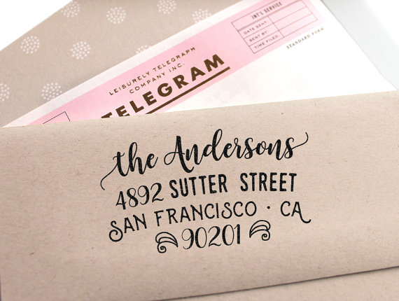 Custom Address Stamp Cute Return With A Fancy Font For Weddings Housewarming Parties And As Customized Gift Holidays