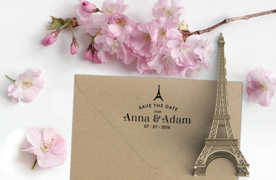 Свадьба - Custom Paris Save the Date Rubber Stamp with Names, Date and Eiffel Tower