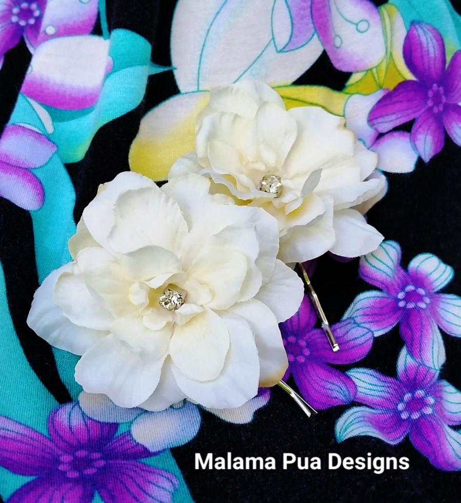Silk Hair Flowers Pair Of Ivory Hawaiian Delphiniums Beach