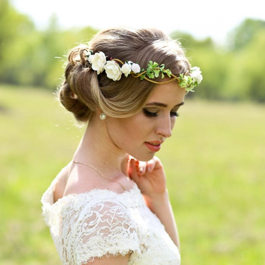 Flower crown wedding headpiece woodland flower bridal hair flower crown wedding headpiece woodland flower bridal hair flower rustic wedding bridal headband dhlflorist Images