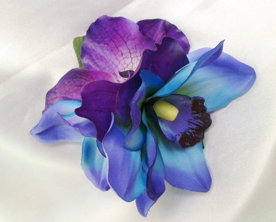 TROPICAL HAIR CLIP Hawaiian Orchids Maui Blue Purple Exotic Hair Clip Beach Bride Fascinator Flower HeadpieceWedding Accessory
